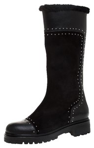 Alexander McQueen Suede Leather Studded Midcalf Black Boots