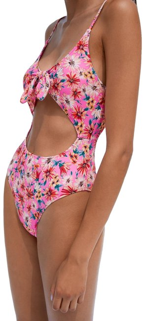 Item - Pink Floral Printed 1 Piece Swimsuit Color One-piece Bathing Suit Size 4 (S)