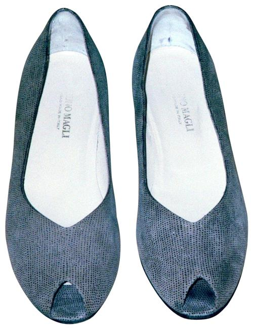 Item - Grey Open Toe Leather Wedges Size US 10 Wide (C, D)