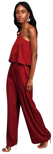 Item - Red XS Bold Behavior Wine One Shoulder Pant Romper/Jumpsuit
