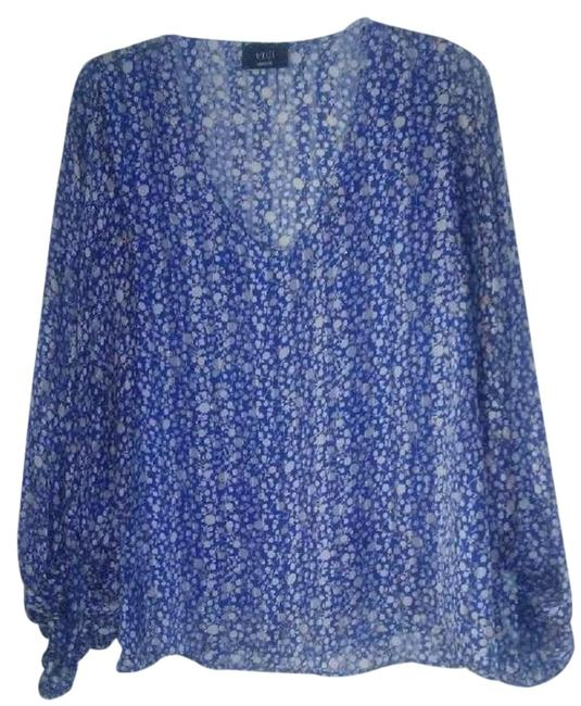 Item - Blue and White Style # T-485 Cut # 10256 Blouse Size 10 (M)