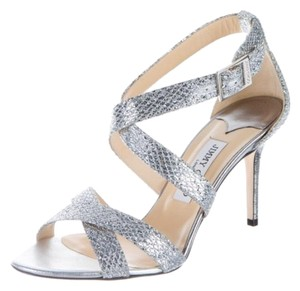 Jimmy Choo Strappy Leather Silver Sandals