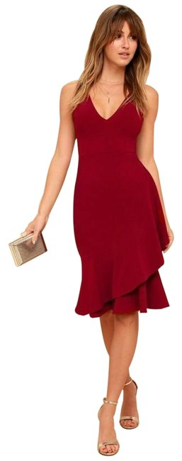 Item - Wine Red Modern Maiden Asymmetrical Mid-length Cocktail Dress Size 2 (XS)