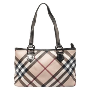 Burberry Metallic Patent Leather Tote in Beige