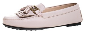 Tod's Leather Chain Tassels Detail Pink Flats