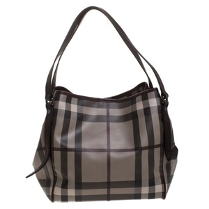 Burberry Canvas Pvc Leather Tote in Brown