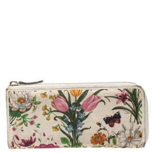 Gucci White Floral Printed Canvas Zip Around Wallet