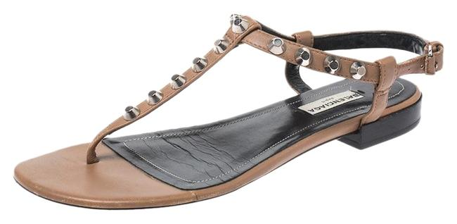 Item - Tan Tan/Black Leather Studded T Strap Flat 38.5 Sandals Size US 8 Regular (M, B)