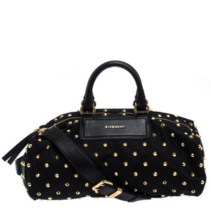 Givenchy Canvas Nylon Leather Satchel in Black