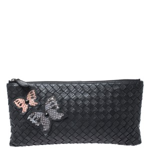 Bottega Veneta Leather Fabric Black Clutch