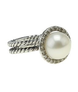 David Yurman David Yurman Pearl & Diamond Cable Sterling Ringx Size 5.5 (183241)