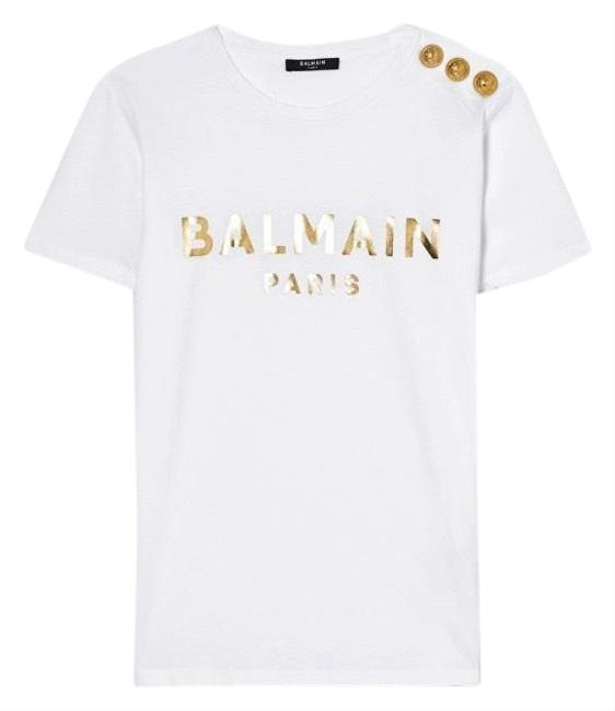 Item - White Logo Printed Button Embellished Tee Shirt Size 8 (M)