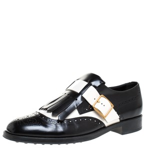 Tod's Leather Rubber Brogue Black Flats