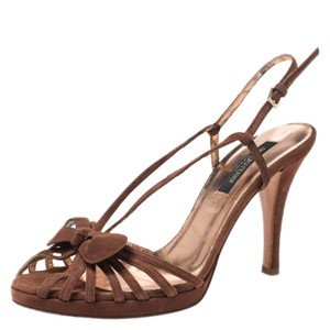 Sergio Rossi Suede Strappy Brown Sandals