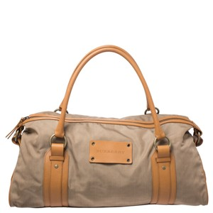 Burberry Canvas Fabric Brown Travel Bag