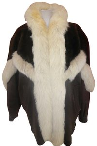 USA Leather brown leather-white fox Womens Jean Jacket