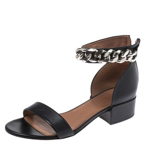 Givenchy Leather Chain Open Toe Black Sandals