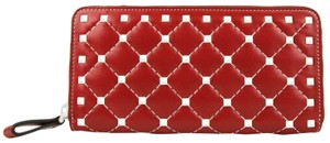 Valentino Red Quilted Leather ROCKSTUD SPIKE CONTINENTAL Zip Around Wallet