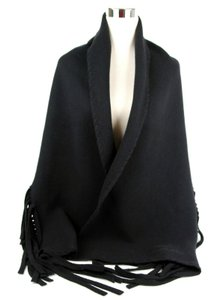 Burberry Burberry Black Solid Felted Fringe Wool/Cashmere Scarf Shawl 3995023