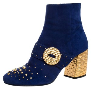 Prada Suede Studded Metallic Ankle Blue Boots