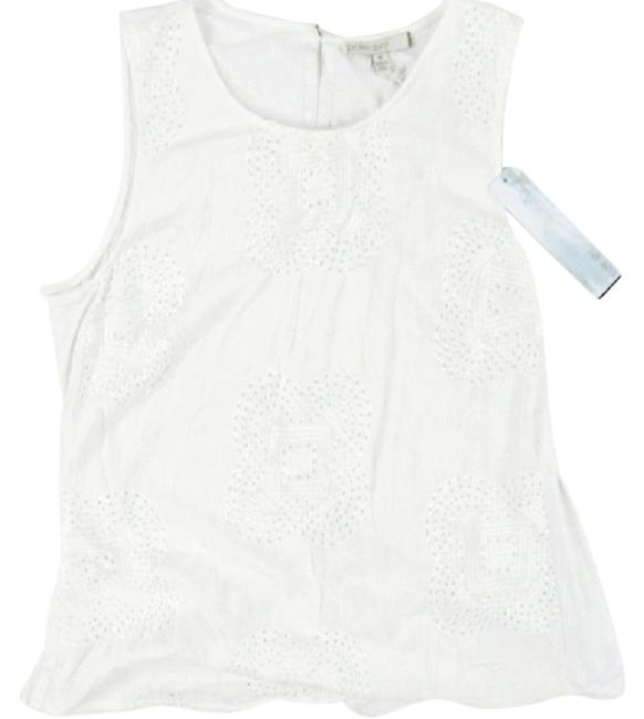 Item - White Sleeveless Embroidered Blouse Size 10 (M)