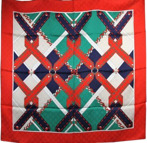 Gucci Gucci Emerald/Red Silk Scarf with Chain Argyle Print 544618 3674