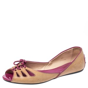 Tod's Leather Patent Trim Peep Toe Ballet Brown Flats