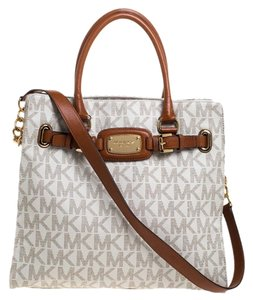 MICHAEL Michael Kors Leather Canvas Tote in Cream