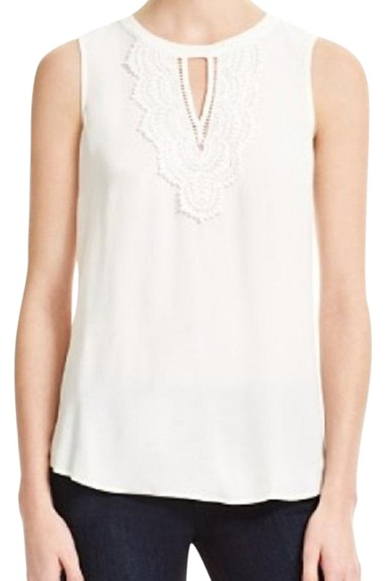 Item - White Pale Sky Keyhole Sleeveless Lace Detail Blouse Size Petite 6 (S)
