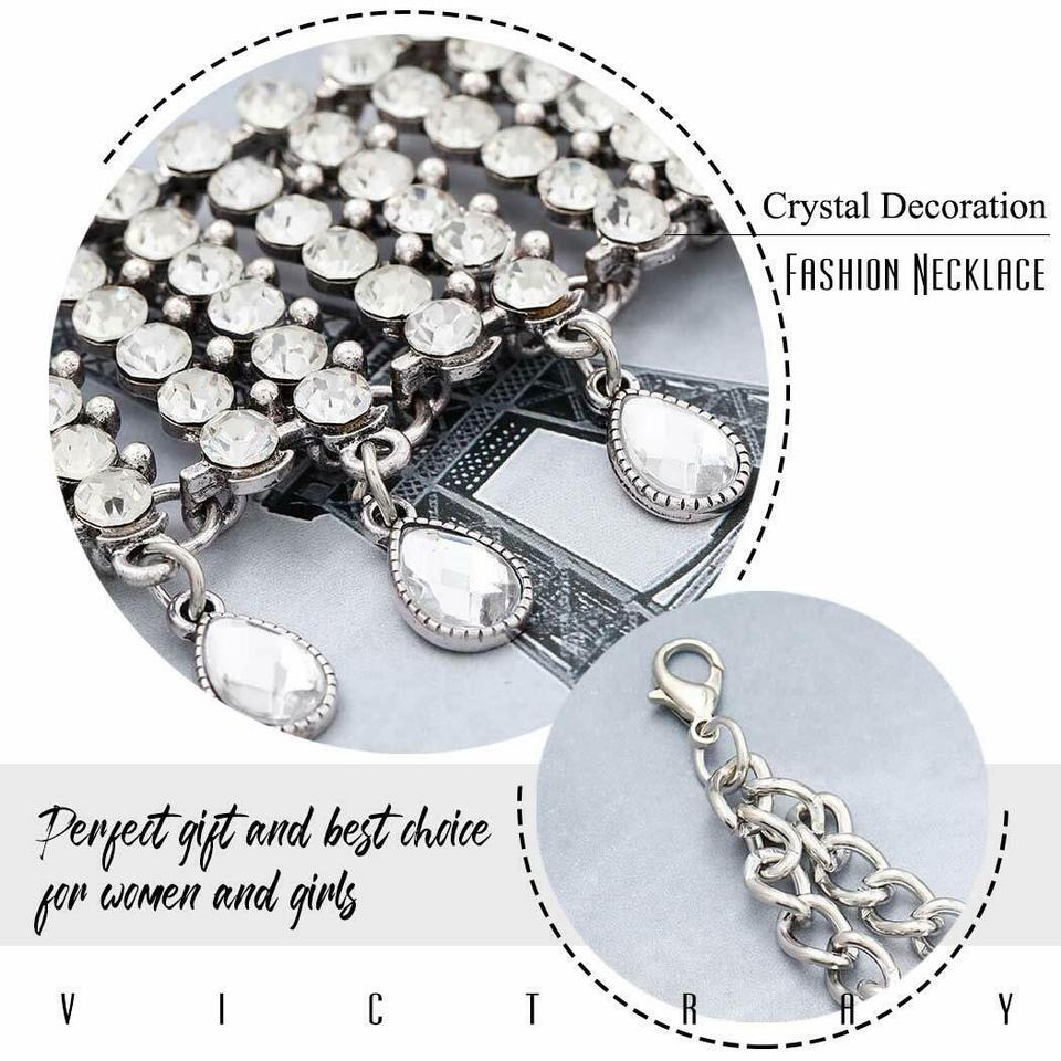 Victray Boho Crystal Necklaces Tassel Choker Necklace Pendant Chain Summer Beach Pendant Fashion Jewelry Chains for Women and Girls Silver