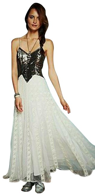 Item - Silver Cream Kristin's Limited Edition Glamour Sequin Wedding Lace Gown Long Night Out Dress Size 6 (S)