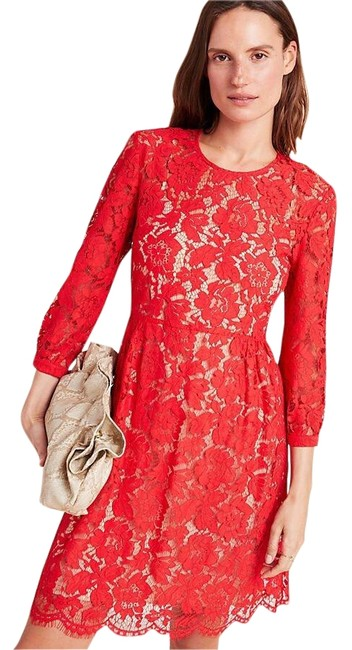 Item - Red Mare 3/4 Sleeve Lace Mini Short Cocktail Dress Size 4 (S)