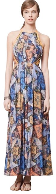 Item - Blue Neon Orange Neon Yellow Ranna Gill Condesa Maxi Long Night Out Dress Size 4 (S)