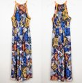 Anthropologie Blue Neon Orange Neon Yellow Ranna Gill Condesa Maxi Long Night Out Dress Size 4 (S) Anthropologie Blue Neon Orange Neon Yellow Ranna Gill Condesa Maxi Long Night Out Dress Size 4 (S) Image 2