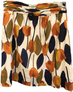 Tory Burch Gathered Waist Style#13121342 Cotton A-line Skirt Multi Color