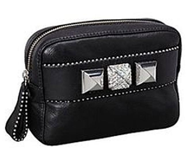 Juicy Couture Bella Lambskin Bling Stud Punk Pouch Black Soft Leather Clutch Juicy Couture Bella Lambskin Bling Stud Punk Pouch Black Soft Leather Clutch Image 1