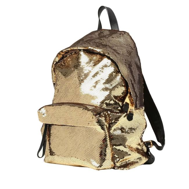 Item - Aw15 Couture Jeremy Scott All Over Sequined Black Strap Gold Backpack