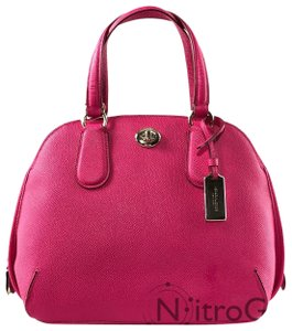 Coach Crossbody Leather Satchel in Ruby Pink