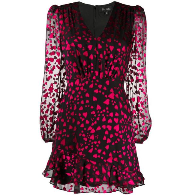 Item - Black & Red Alya Heart Short Night Out Dress Size 4 (S)