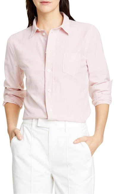 Item - Dusty Pink Shrunken Fine Stripe Cotton Shirt Button-down Top Size 6 (S)