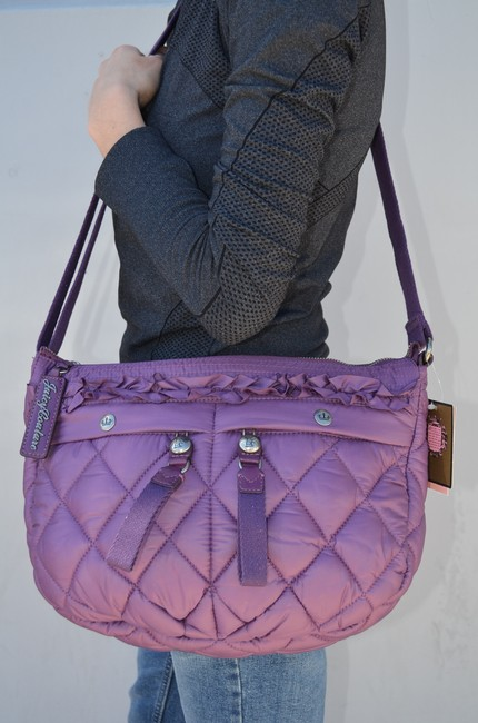 Juicy Couture Quilted Blake Puff Shoulder Convertible Glouster Purple Nylon Hobo Bag Juicy Couture Quilted Blake Puff Shoulder Convertible Glouster Purple Nylon Hobo Bag Image 2