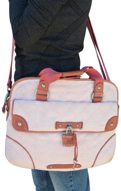 Item - Shoulder Quilted Terry Rare Pink Fabric with Leather Trim Laptop Bag