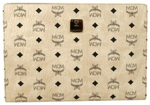 MCM Coated Canvas Medium Pouch Beige Clutch