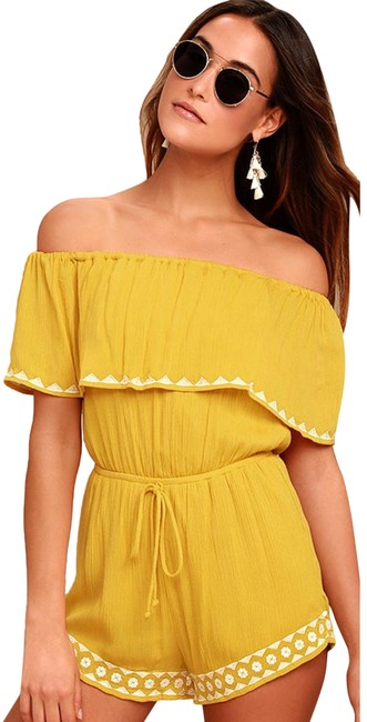 Item - Yellow Oaxaca Mustard Embroidered Off-the-shoulder Romper/Jumpsuit