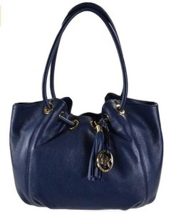 Michael Kors Leather Shoulder Carryall Tote in Navy