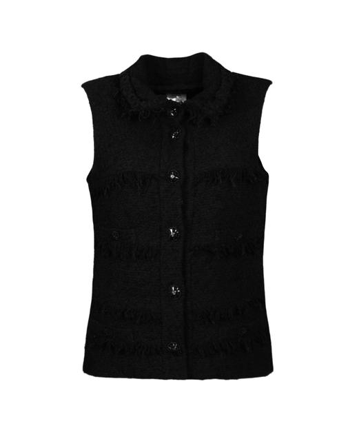 Item - Black W Wool Boucle W/ Fringe 38 Vest Size 6 (S)
