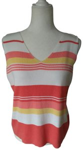Emma James Vintage Sleeveless Shell Top Coral/White/Yellow Stripes