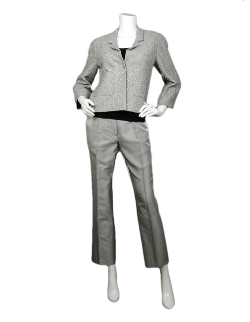 Chanel Silver Tweed Jacket & Pant Suit Size 6 (S) Chanel Silver Tweed Jacket & Pant Suit Size 6 (S) Image 1