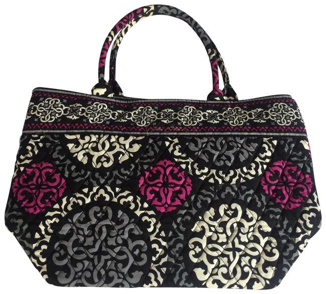 Item - Tote Retired Canterberry Magenta Grey Black Cotton Weekend/Travel Bag