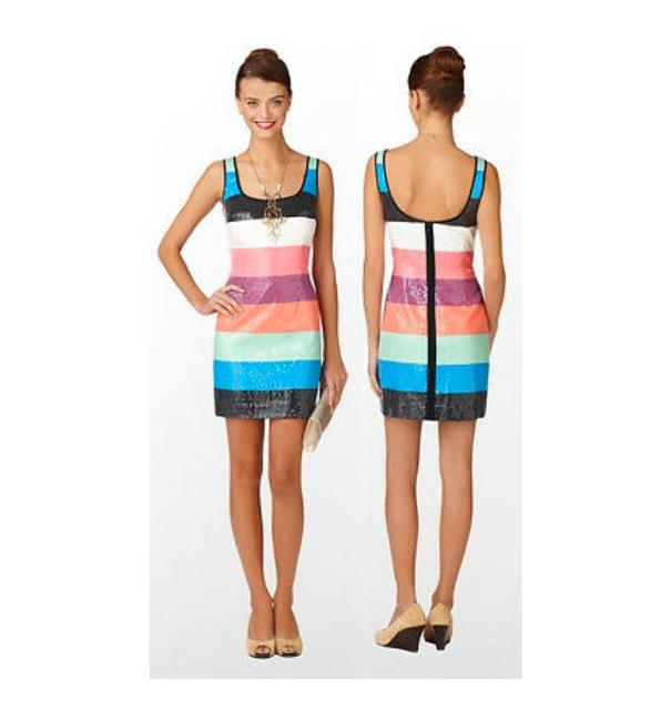Item - Multicolor Lucy Printed Stripe Shift Short Cocktail Dress Size 4 (S)